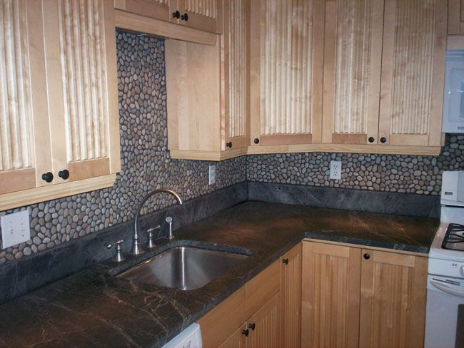 river rock backsplash rock roll pinterest