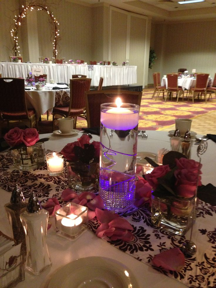 Wedding Centerpieces With Submersible Lights : Purple submersible LED light for wedding centerpieces. Hopperflowers ...