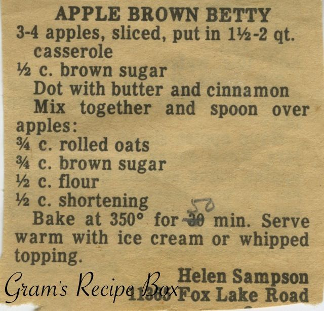 Apple Brown Betty | Grandmas Recipes & Classic Tips | Pinterest