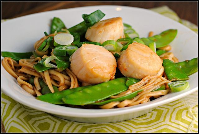 Soy Citrus Scallops with Udon Noodles and Snow Peas by preventionrd