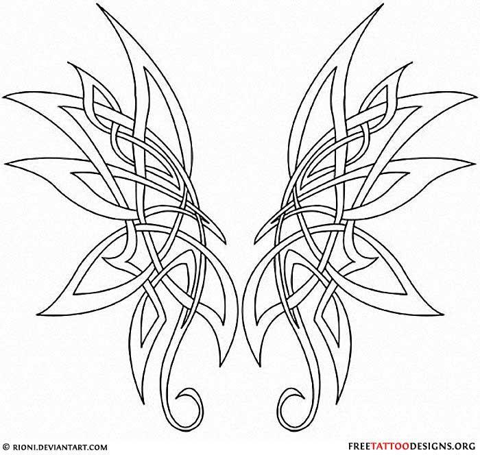 Tribal Butterfly Wings Tattoo