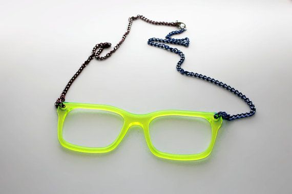 Pastel Green Glasses Frames : Light green neon hipster glasses frame necklace. by ...