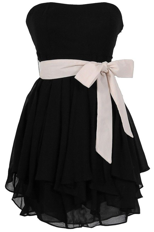 Cute Adorable Ruffled Edges Chiffon Designer Dress in Black/Ivory #LBD #black #dress #bow #strapless #fashion #party #event #wedding