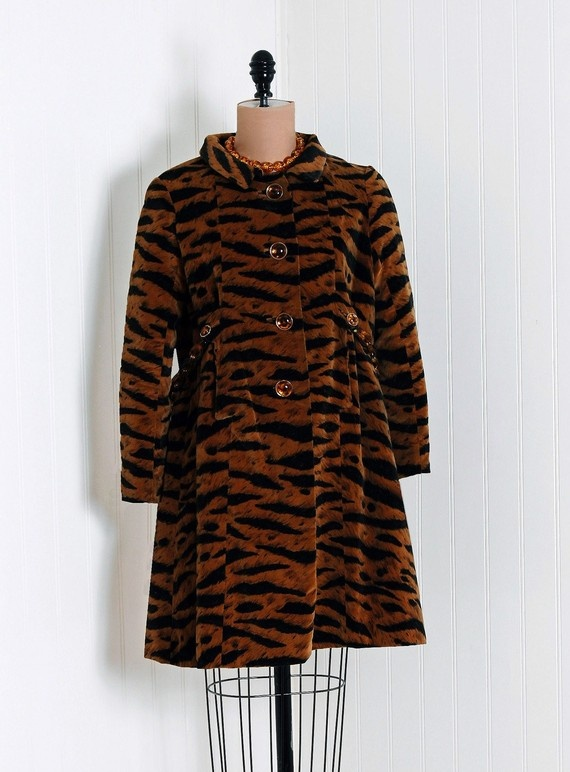 Evening Coat, Valentino for Lawrence of London: 1960's, tiger novelty print silk cotton velvet lined with silk shantung, chainlink back belt.