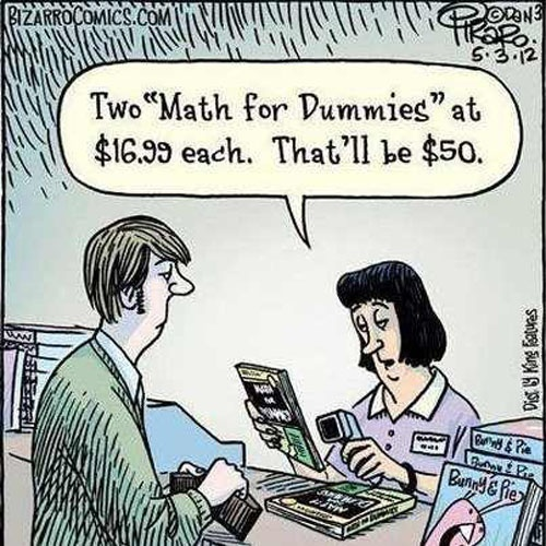 math funny, math comic, math cartoon, math for dummies, math for dummies joke, math for dummies comic, math for dummies $50, math for dummies shopping