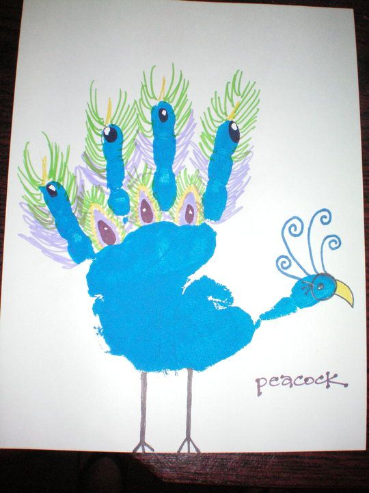 Handprint Crafts | Learning Crafts Peacock a great animal craft for kids to make