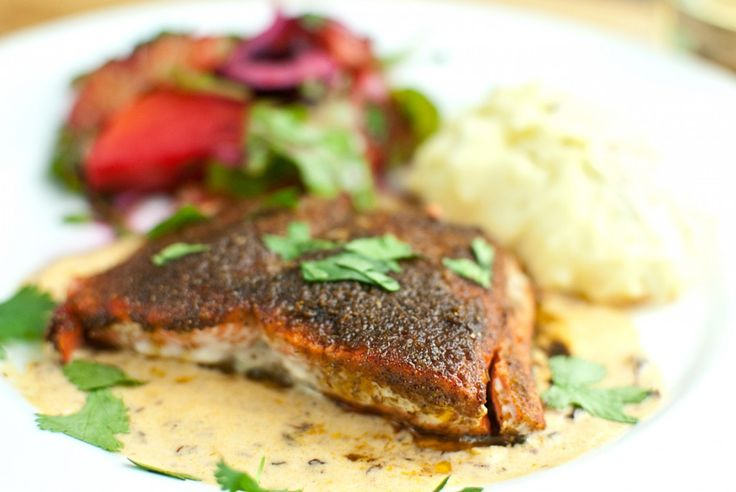 lime ancho salmon with chipotle cream | Seafood | Pinterest