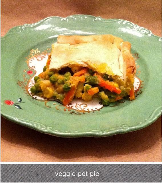 Quick veggie pot pie using Trader Joe's frozen vegetable melange.