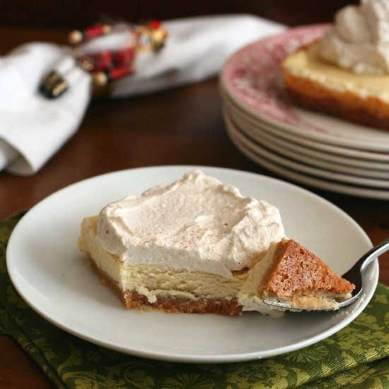 Eggnog Cheesecake Bars with Gingerbread Whipped Cream - a healthy ...