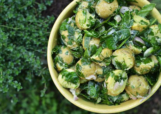 Garden Potatoes with Spinach & Lemon by thekitchn #Potatoes #Spinach