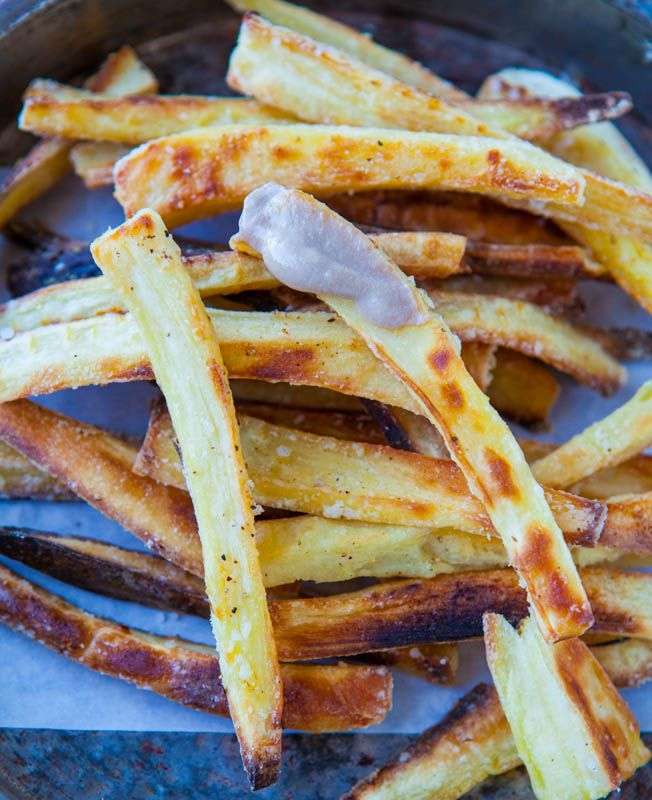 Baked Parsnip Fries with Creamy Balsamic Reduction Dip (vegan, gluten ...