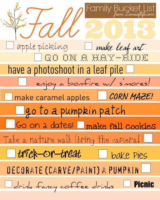 2013 Updated Fall bucket list from LovesofLife.com #fallbucketlist #bucketlist #family