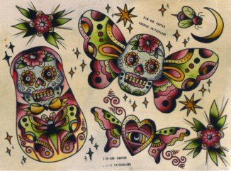 sailor jerry skull butterfly  sugar skull butterfly