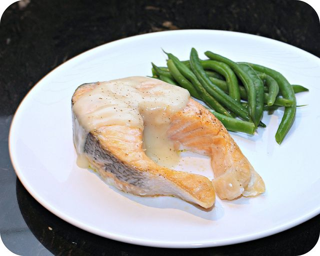 Roast Salmon with White Wine Sauce | Restaurant Night At Home | Pinte ...