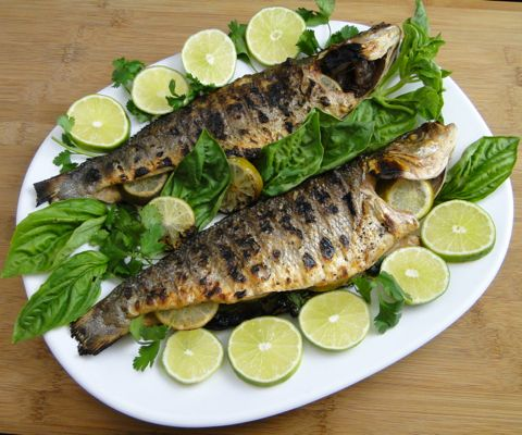 Grilled branzino fish with lime and herbs | Recipe