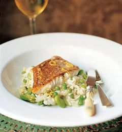 Sauteed Red Snapper With Sweet Pea and Fava Bean Pilaf #recipe #food