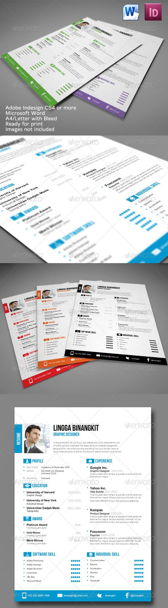 Free infographic resume template indesign