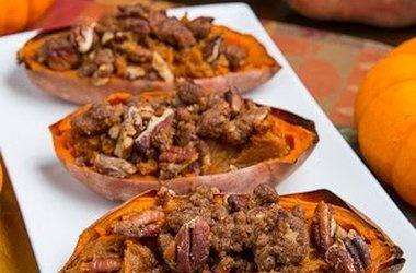 Twice Baked Sweet Potato Potato Skins with Pecan Streusel (Individual ...