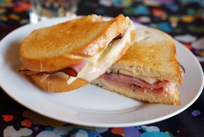 Bake at 350 goes savory: Grilled Ham, Pear, and Cheese Sandwiches