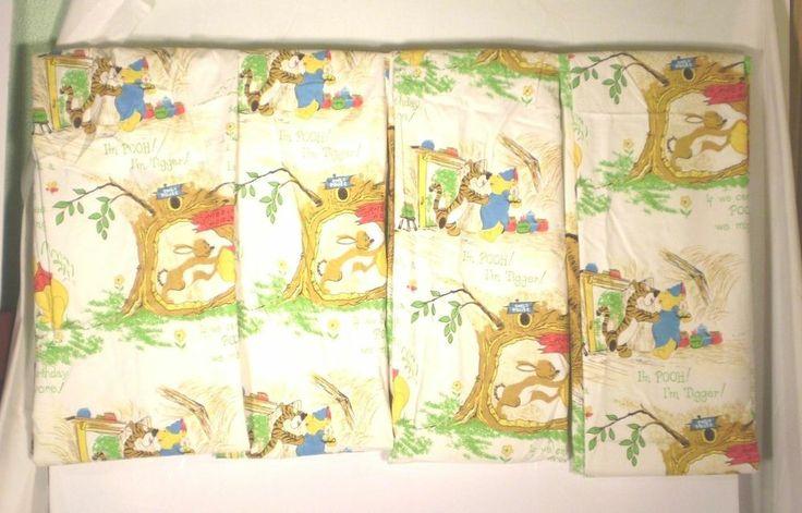 4 Winnie The Pooh Nursery Curtains Panels Sears Walt Disney Kids 77 X 48
