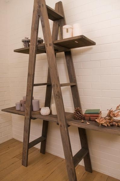 French farmhouse ladder shelf for mi casa su casa for How to build a display shelf