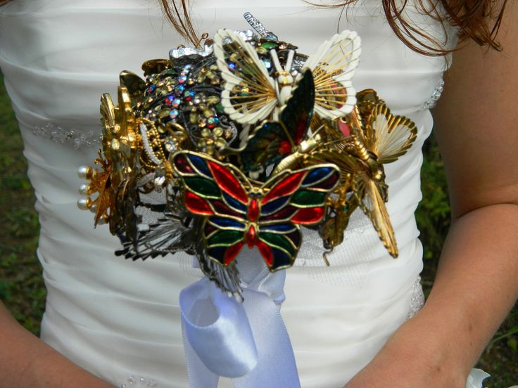 Butterfly brooch bouquet sale vintage colorful for Fall wedding bouquets for sale