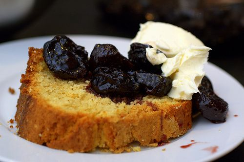 Brown butter pound cake with wine stewed prunes and marscapone