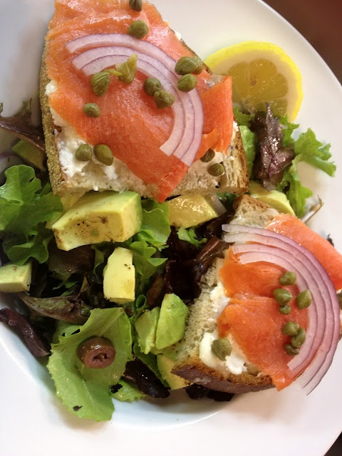Smoked Salmon and Goat Cheese on Toast Points over Field Greens with ...