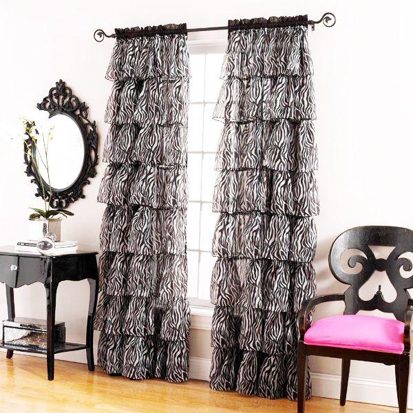 Window curtains black gypsy zebra sheer print ruffled curtain panels