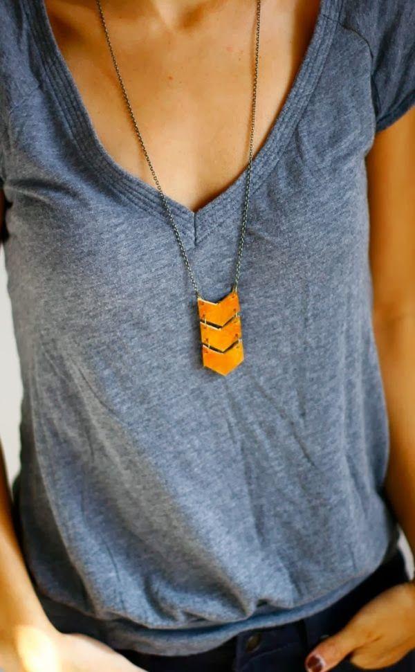 Leather chevron necklace, Shoprarebird / Etsy.com