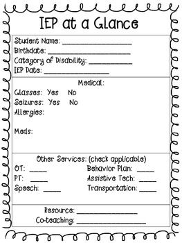 Special education teacher planner for Iep at a glance template