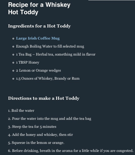 Whiskey Hot Toddy | Favorite Recipes | Pinterest