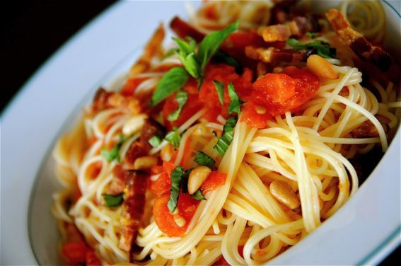 Baked Tomato Pasta http://hmjg.com/pasta-with-fresh-tomatoes-basil ...