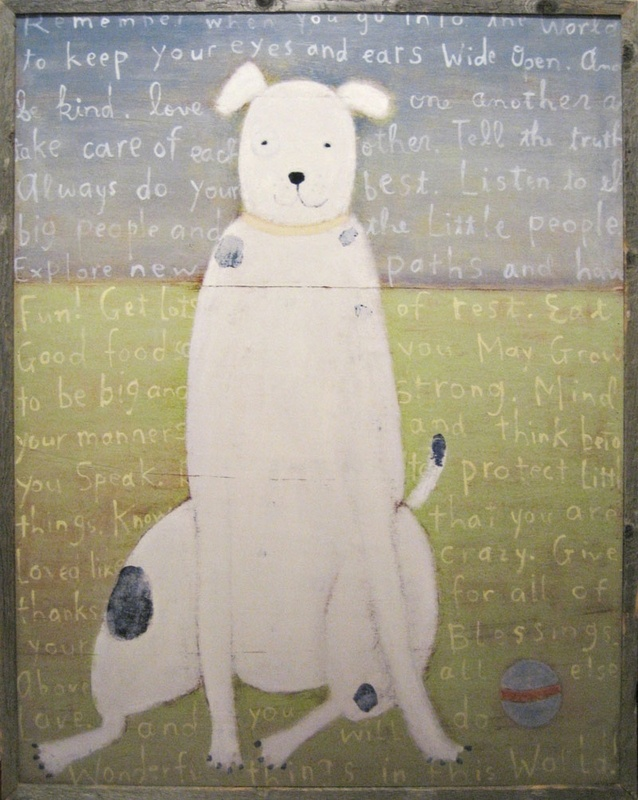 Sugarboo White Dog Vintage Framed Art Print