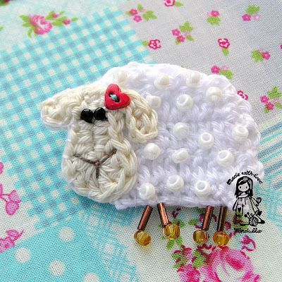 Free Pattern Crochet Lamb : Lamb brooch Free patterns Crochet Pinterest