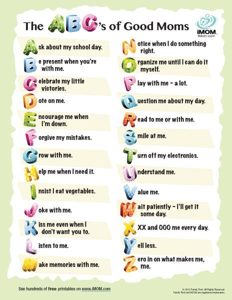 The ABC's of Good Moms (Printable)   Click to Print