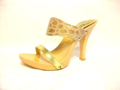 COLIN STUART Shoes ITALY Pebbled CLOG GOLD Open Toe HEELS Slip On