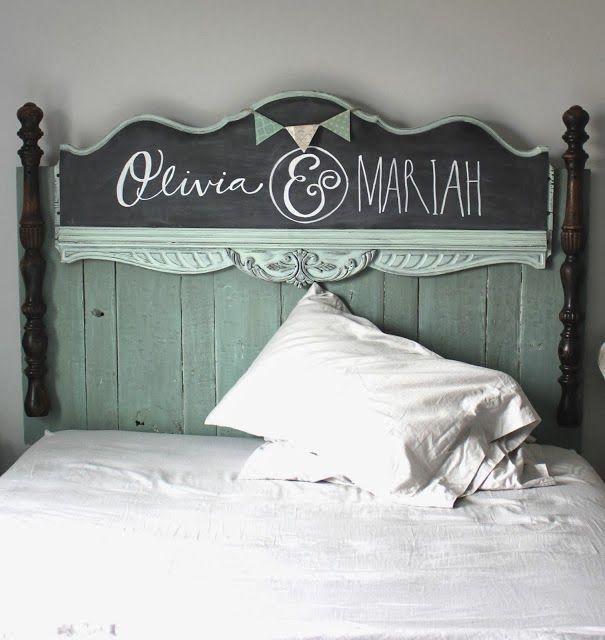 Gorgeous pallet wood chalkboard headboard, by Namely Original, featured on http://www.ilovethatjunk.com