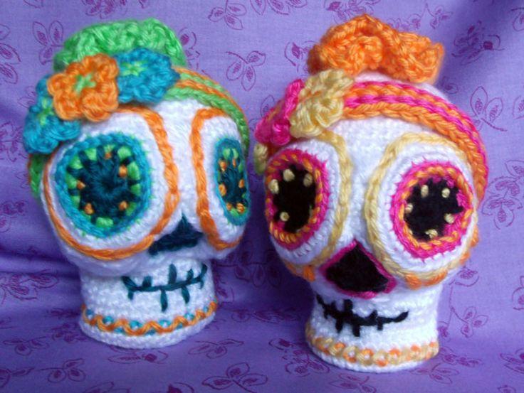Free Amigurumi Skull Pattern : Sugar Skull CROCHET PATTERN Amigurumi Day of the Dead ...