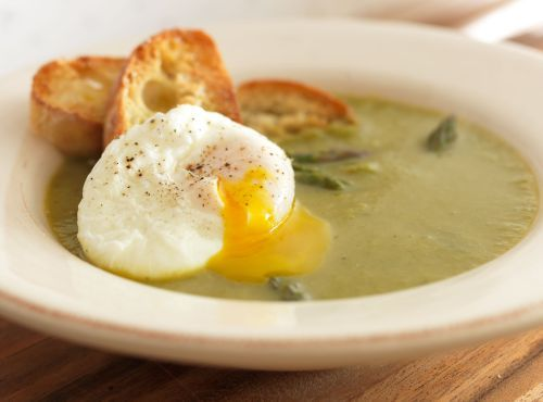 Asparagus Soup With Egg On Toast Recipe — Dishmaps