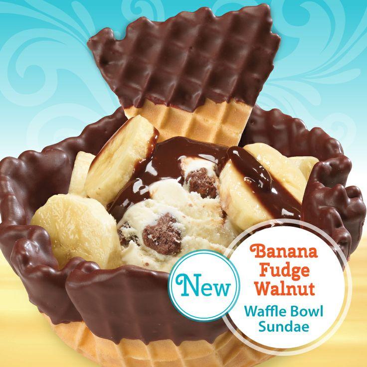The Oberweis Banana Fudge Walnut Waffle Bowl Sundae! It starts with ...