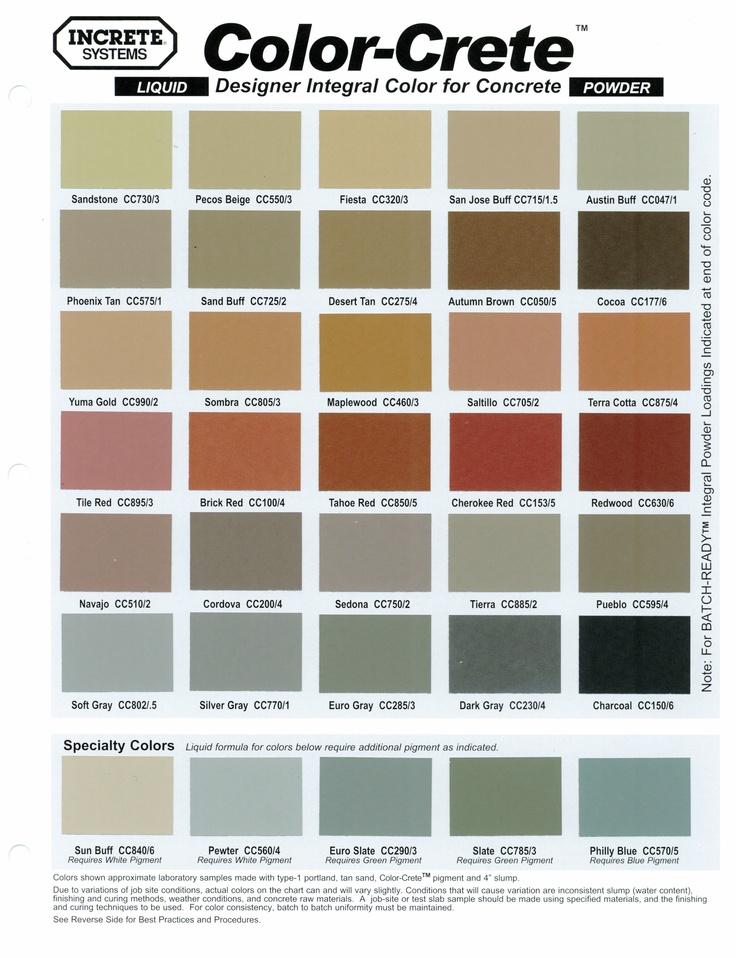 Concrete Stamping Color Chart | Lisa garden | Pinterest