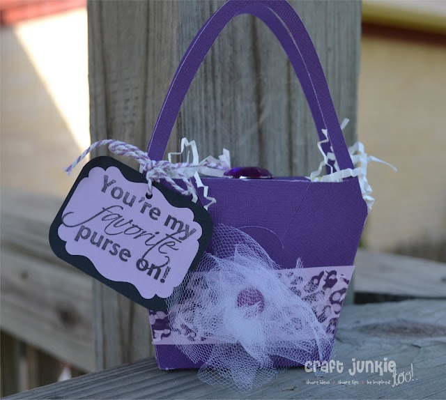 "Purse design from Forever Young Cricut cartridge -- sentiment ""Girlie Sayings"" by My Pink Stamper. #Cricut #MyPinkStamper"