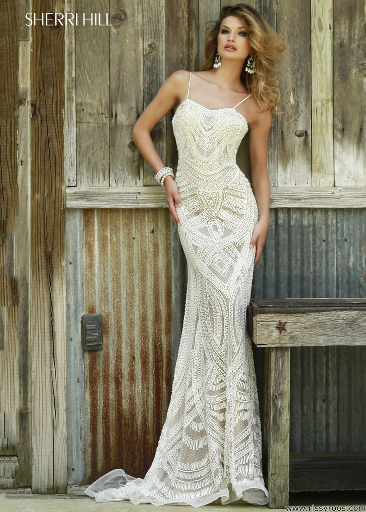 Sherri hill elegant beaded lace gown dress wedding dress for Sherri hill wedding dresses