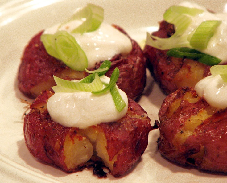 Red potatoes | Smashed Baby Red with sour cream and green onion