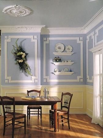 Blue wall panel molding ideas wall panels pinterest for Dining room molding panels
