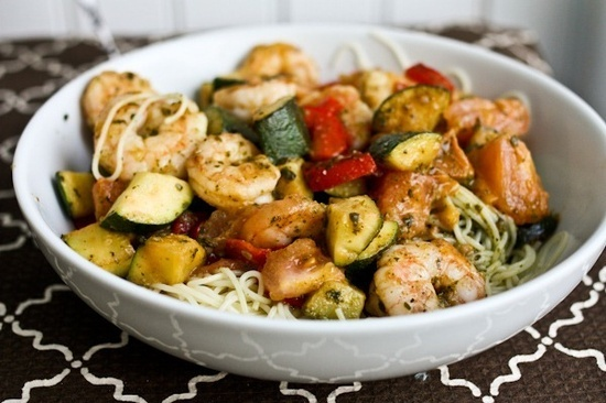 Shrimp Zucchini and Tomato Pesto Angel Hair Pasta