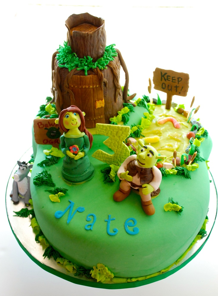 CakesbyKirsten.  Shrek cake.  Half N half.  White almond cake with swampgrass filling and Yellow cake with slimey limey filling. Everything on the cake is edible! #Shrekcake.