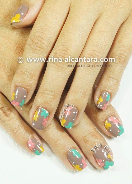 Floral pastel on nude nail art design dotticure nail art pinterest - Nail art nude ...