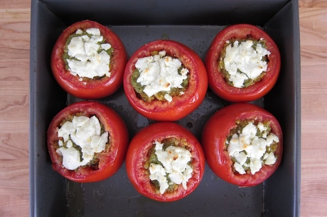 Quinoa Stuffed Tomatoes with Pesto and Goat Cheese by the Shishka Blog ...